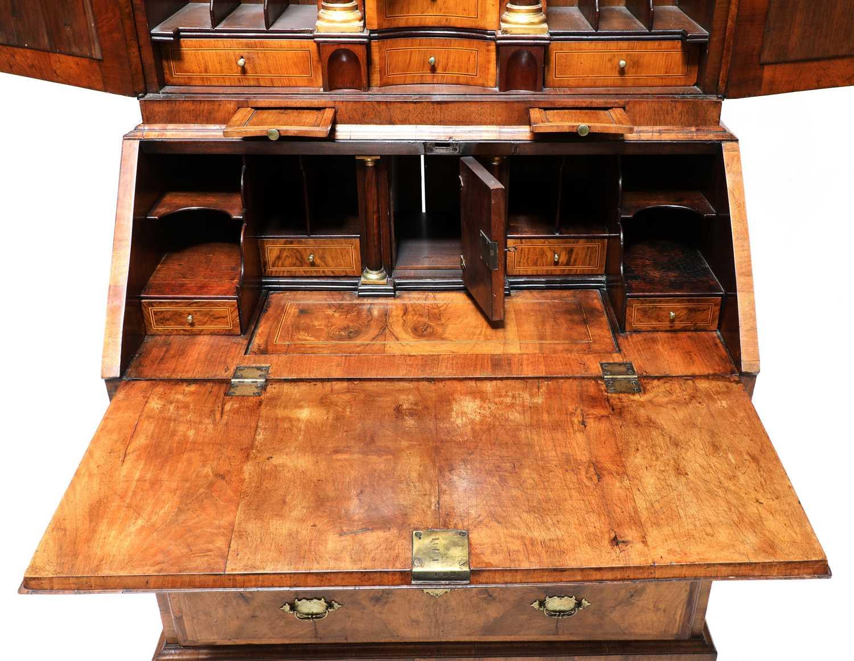 A walnut bureau bookcase, - Image 5 of 7