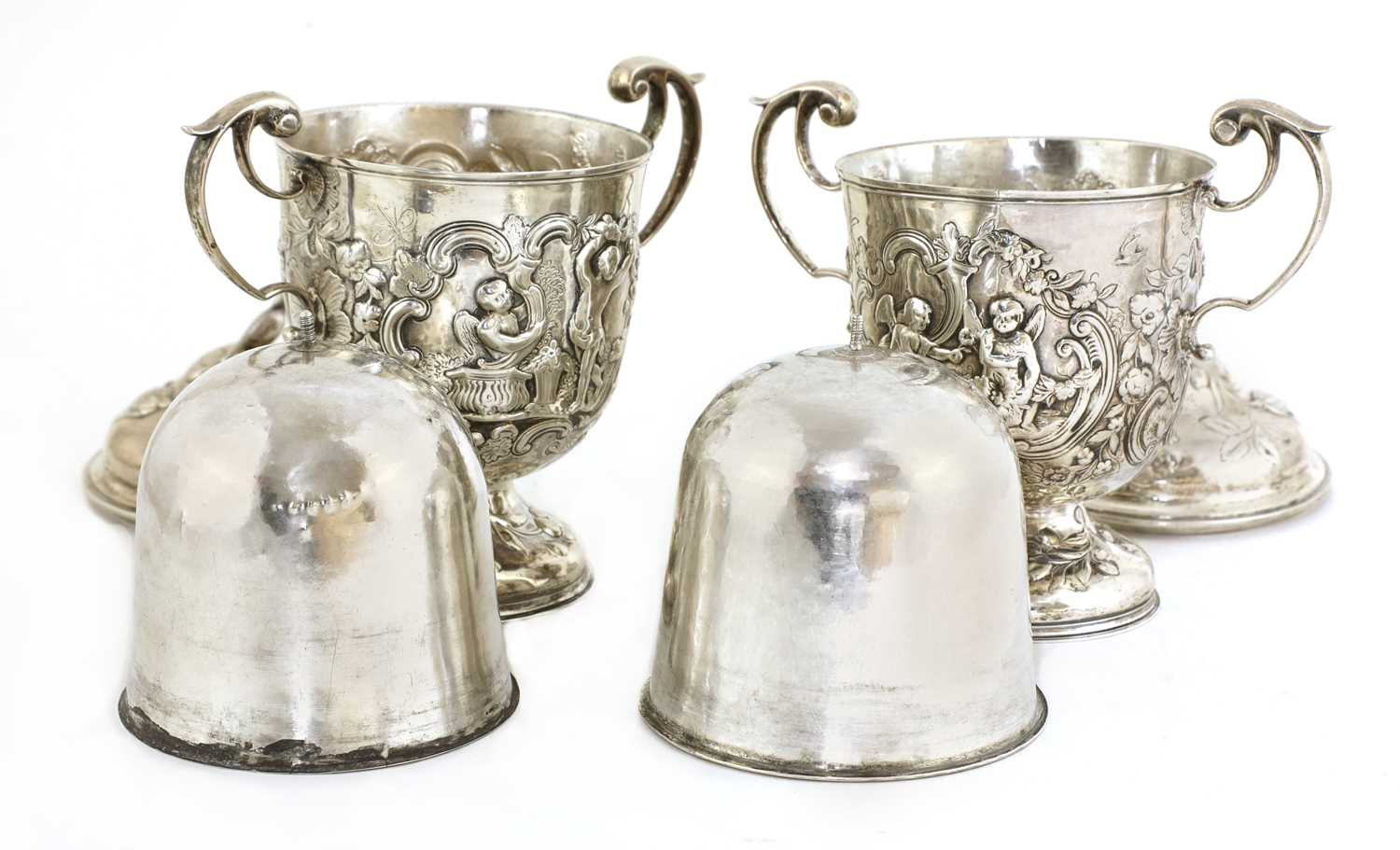 A pair of Continental silver urns, - Image 3 of 5