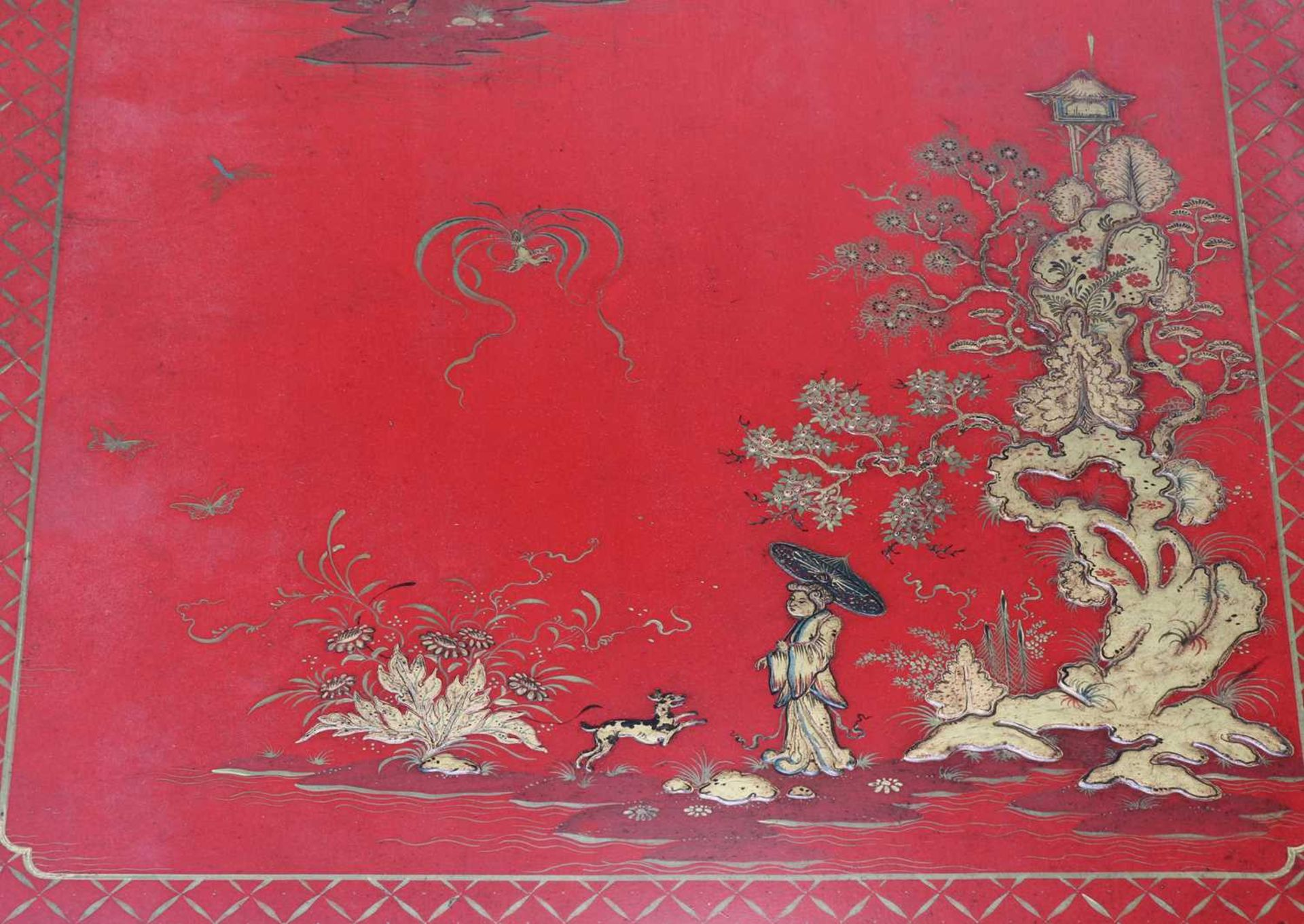A Chinese-style red-lacquered coffee table in the manner of Mallett & Sons, - Image 7 of 9