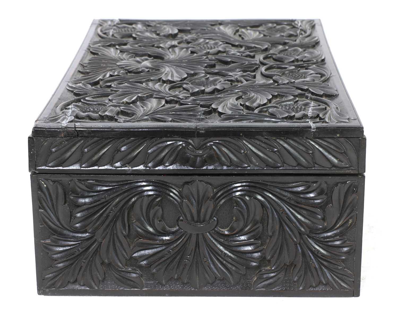 A Ceylonese carved ebony workbox - Image 4 of 6