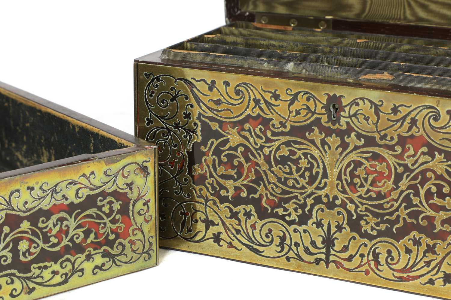 A boulle work desk box and tray, - Image 5 of 6