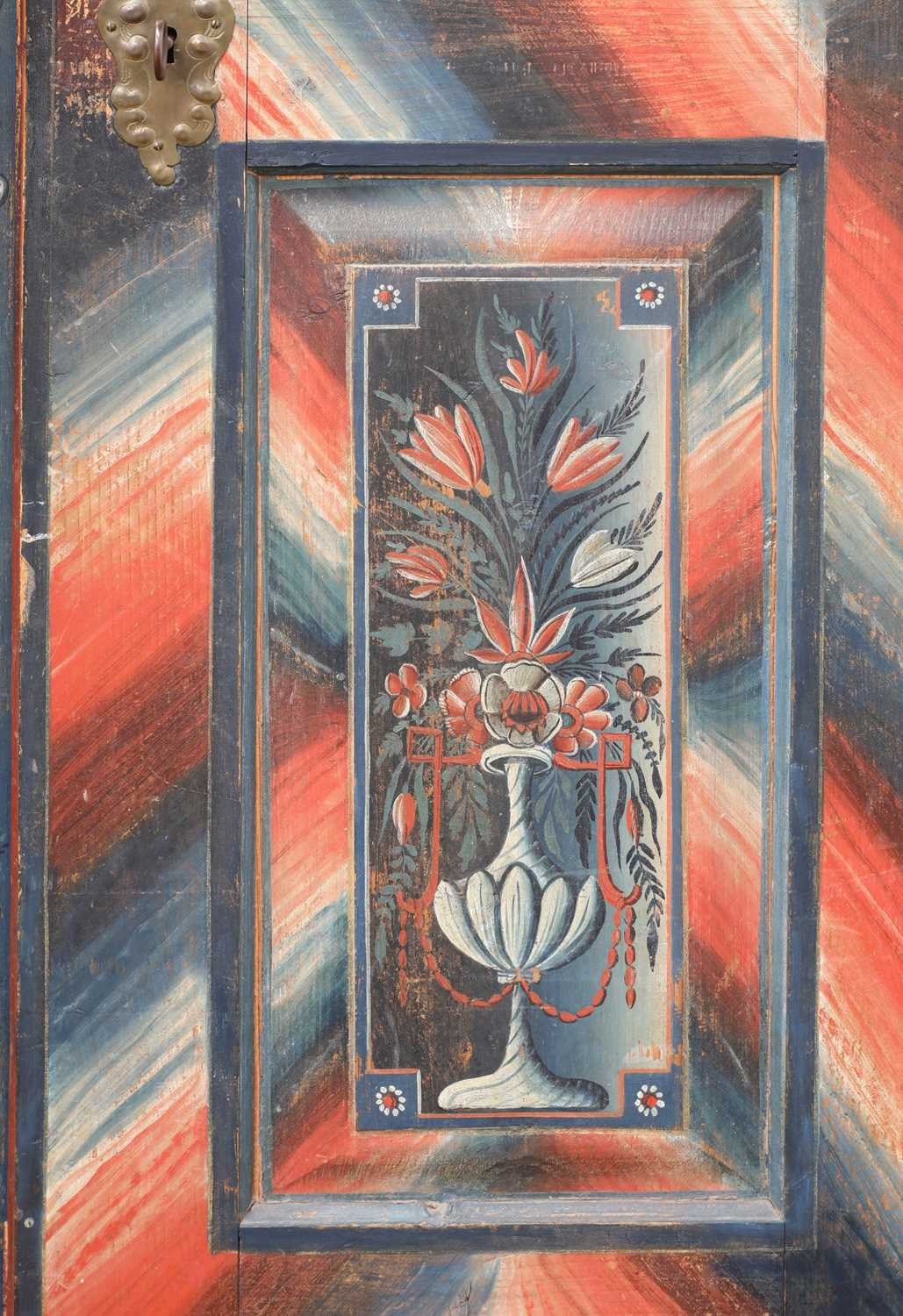 A Northern European painted pine armoire, - Image 7 of 10