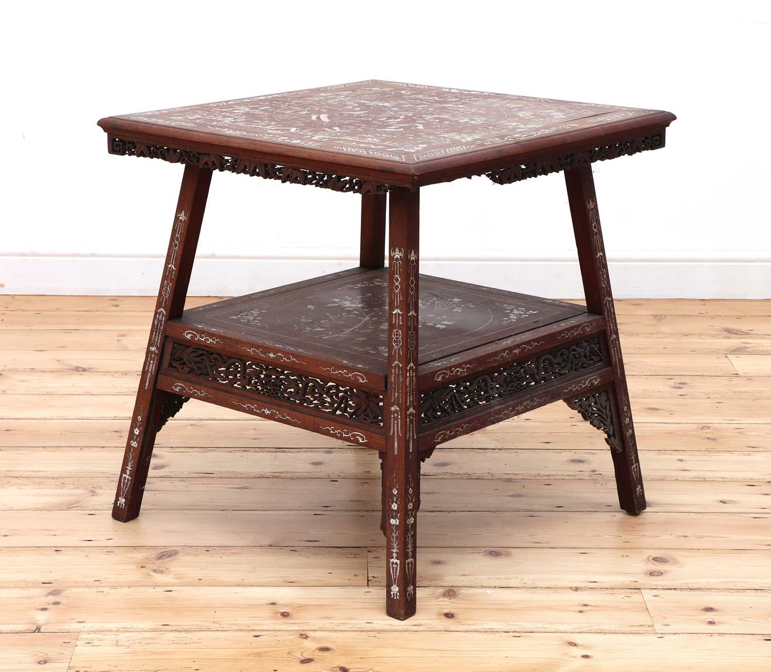A Chinese hardwood and ivory inlaid occasional table,