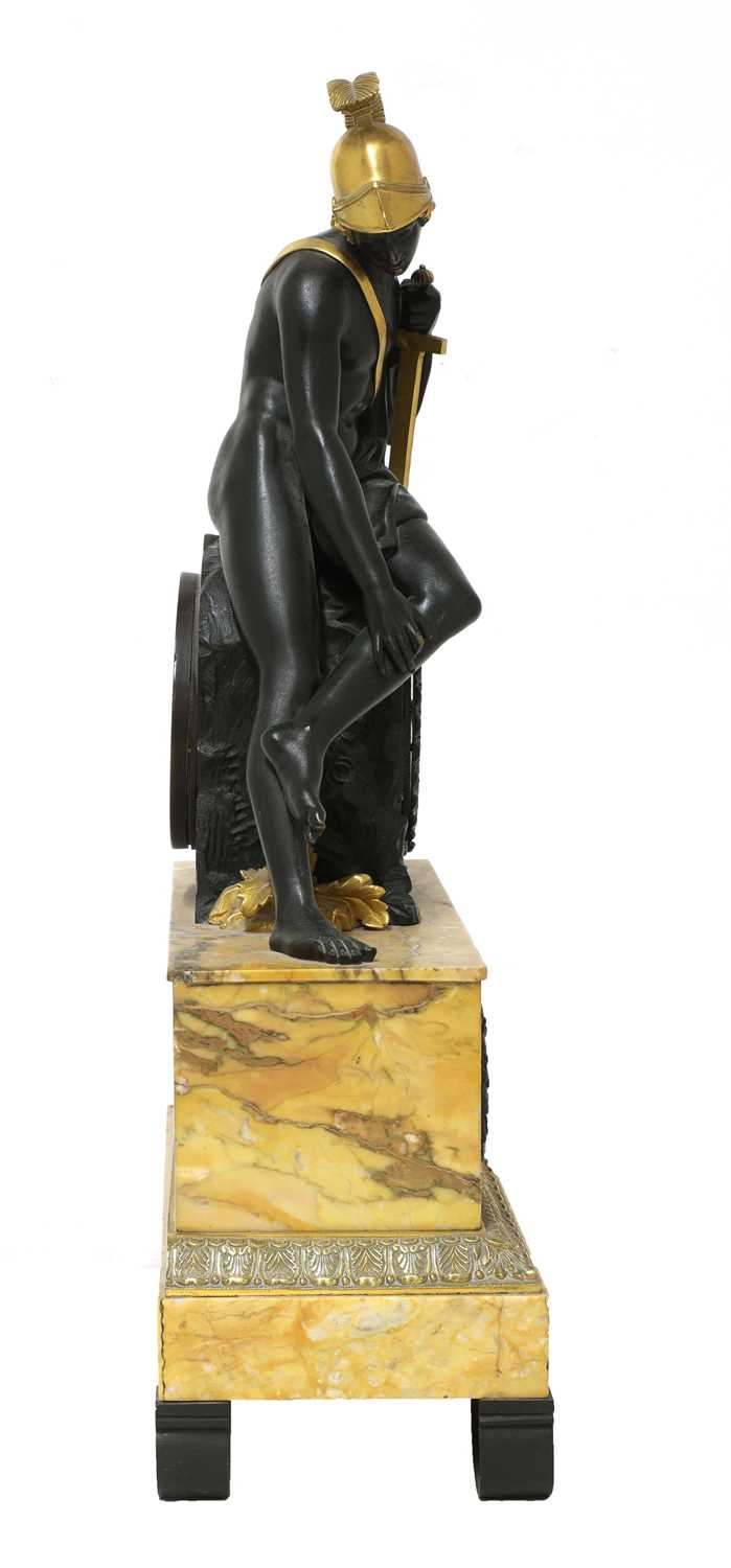 A French Empire patinated and gilt-bronze and Sienna marble mantel clock, - Image 3 of 7
