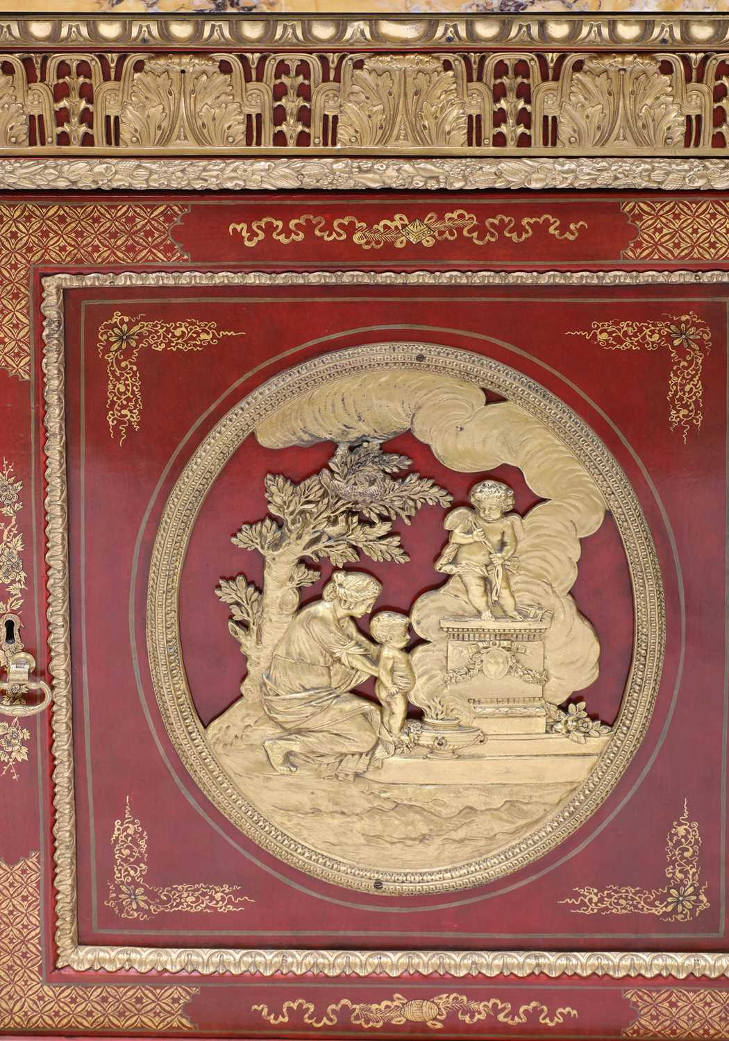 A red-lacquered and ormolu-mounted pier cabinet, - Image 5 of 16