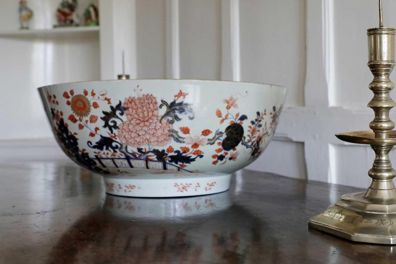A large Chinese Imari punchbowl,
