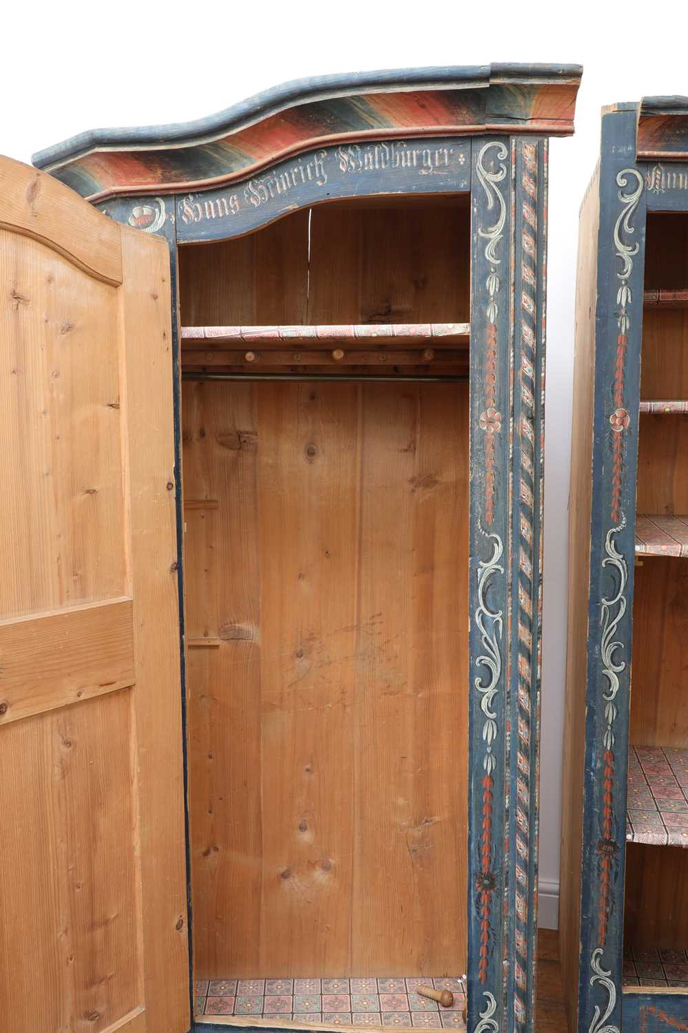 A Northern European painted pine armoire, - Image 8 of 10