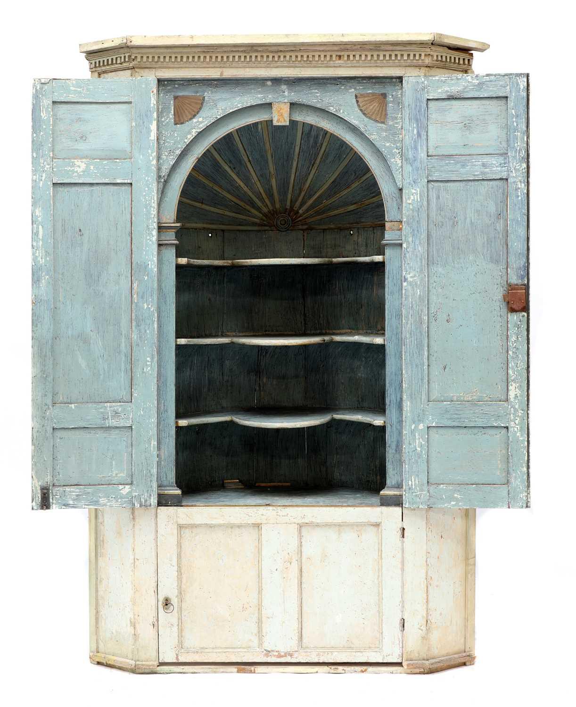 A large George III painted pine corner cupboard, - Image 2 of 3