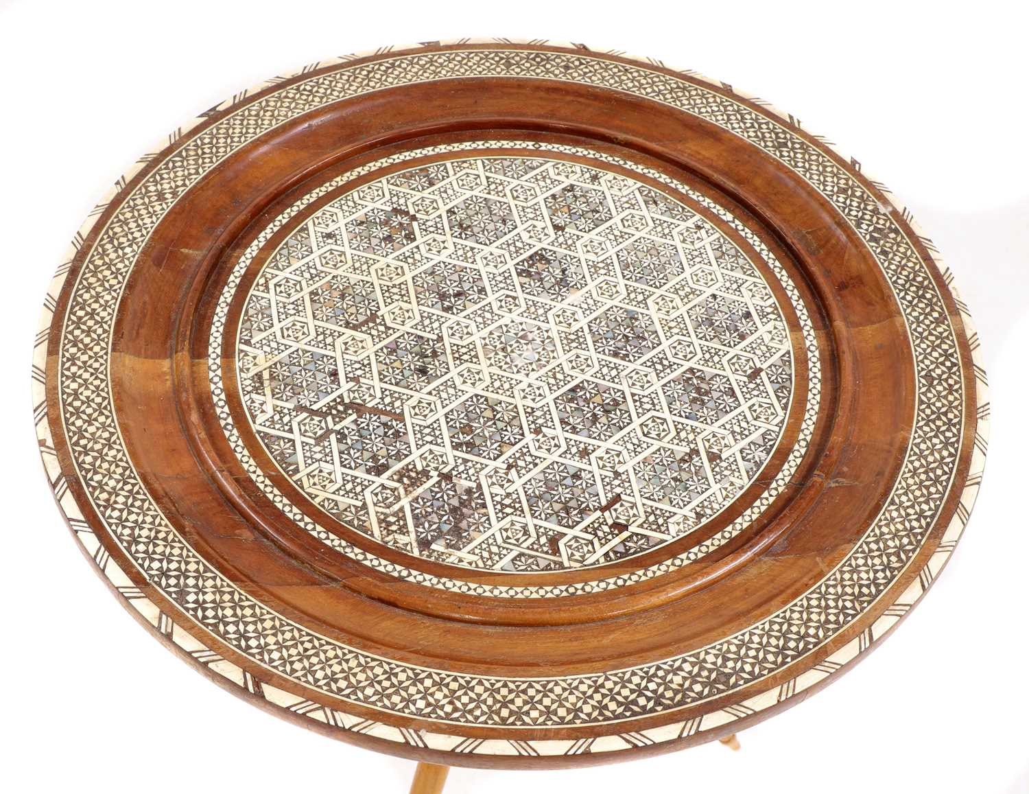 A Syrian inlaid occasional table, - Image 2 of 5