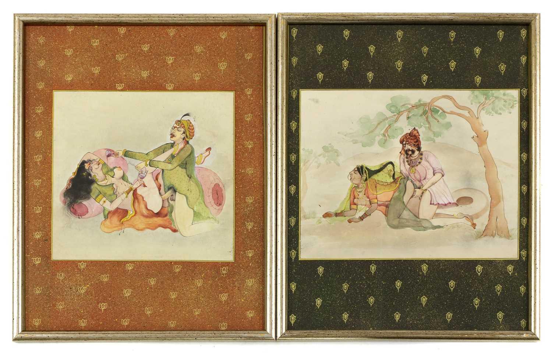 Fourteen Indian erotic paintings, - Image 4 of 5