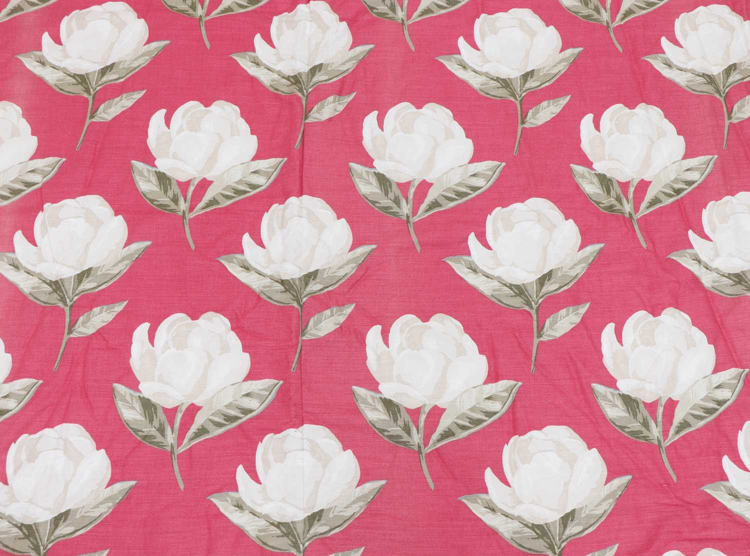 A pair of pink floral interlined curtains,