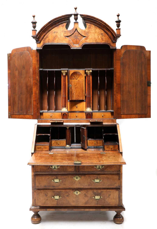 A walnut bureau bookcase, - Image 2 of 7
