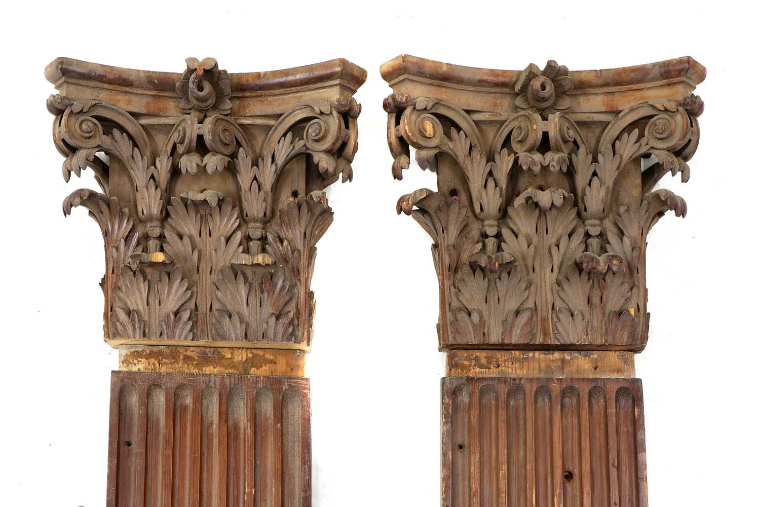 A pair of fluted pitch pine pilasters, - Image 7 of 10