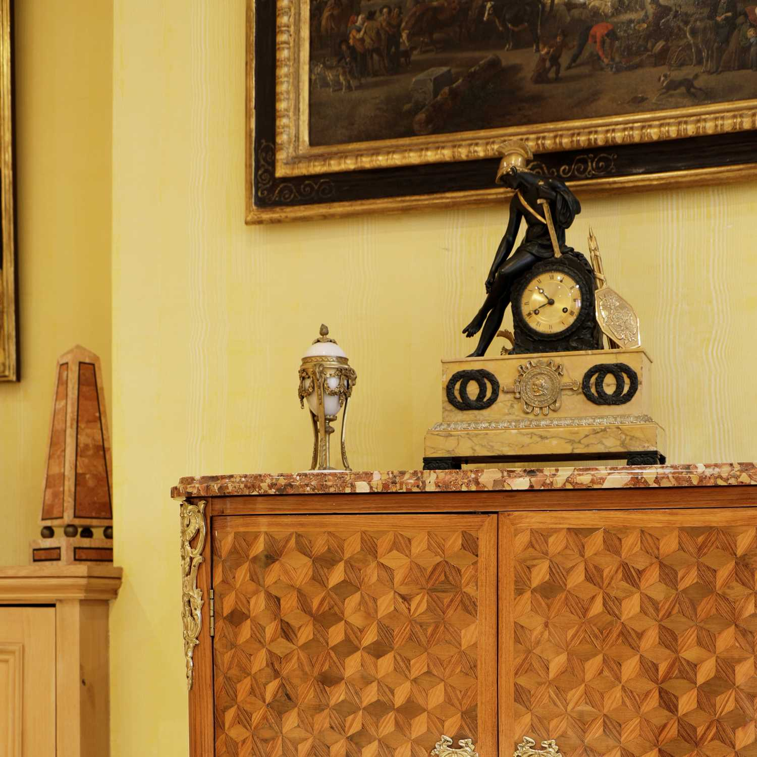 A French Empire patinated and gilt-bronze and Sienna marble mantel clock, - Image 5 of 7