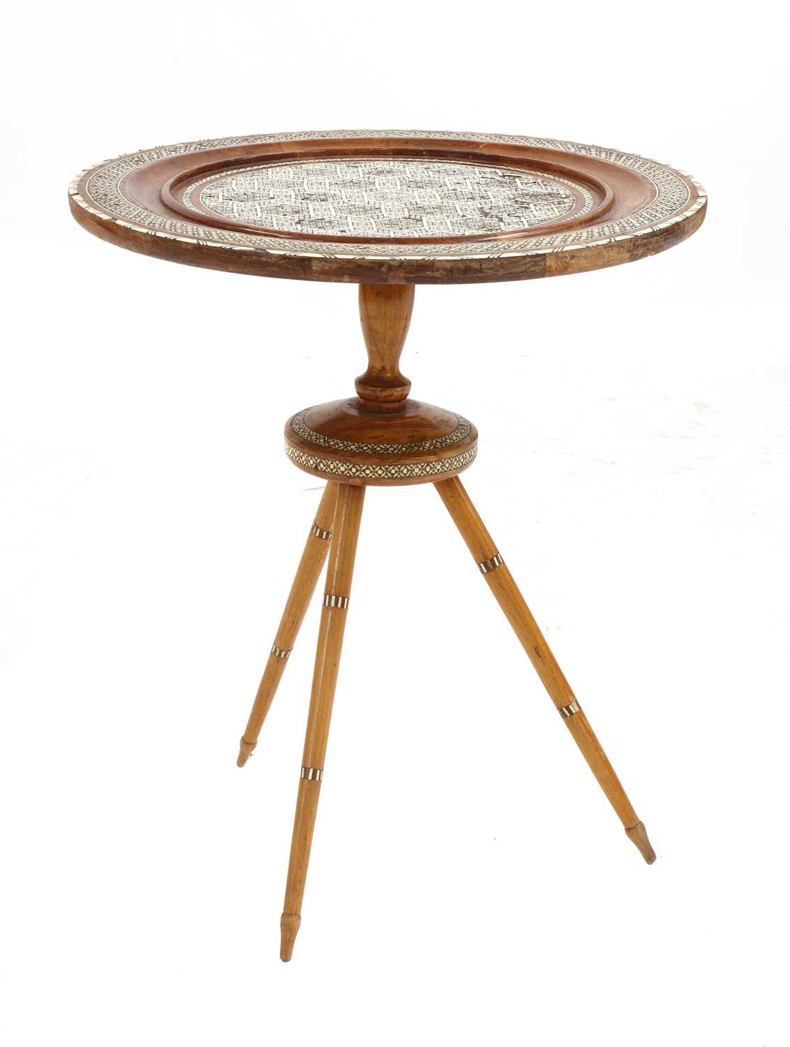 A Syrian inlaid occasional table,
