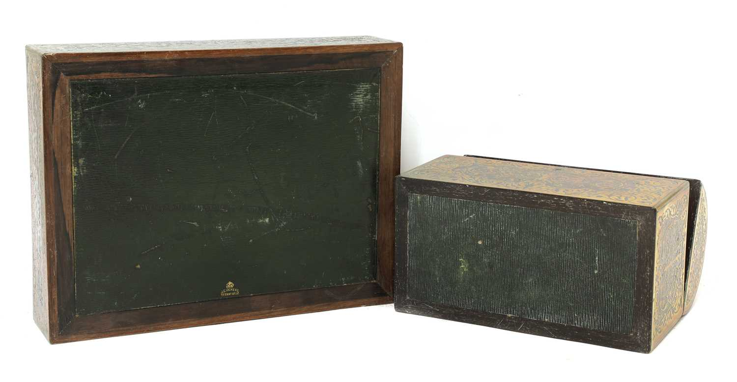 A boulle work desk box and tray, - Image 3 of 6