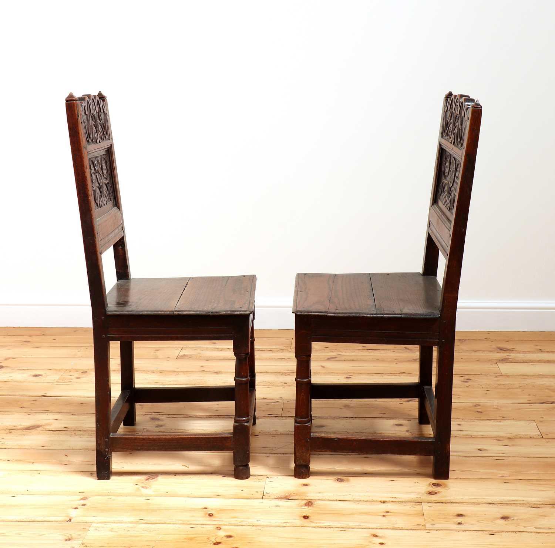A pair of Charles II oak backstools, - Image 5 of 9