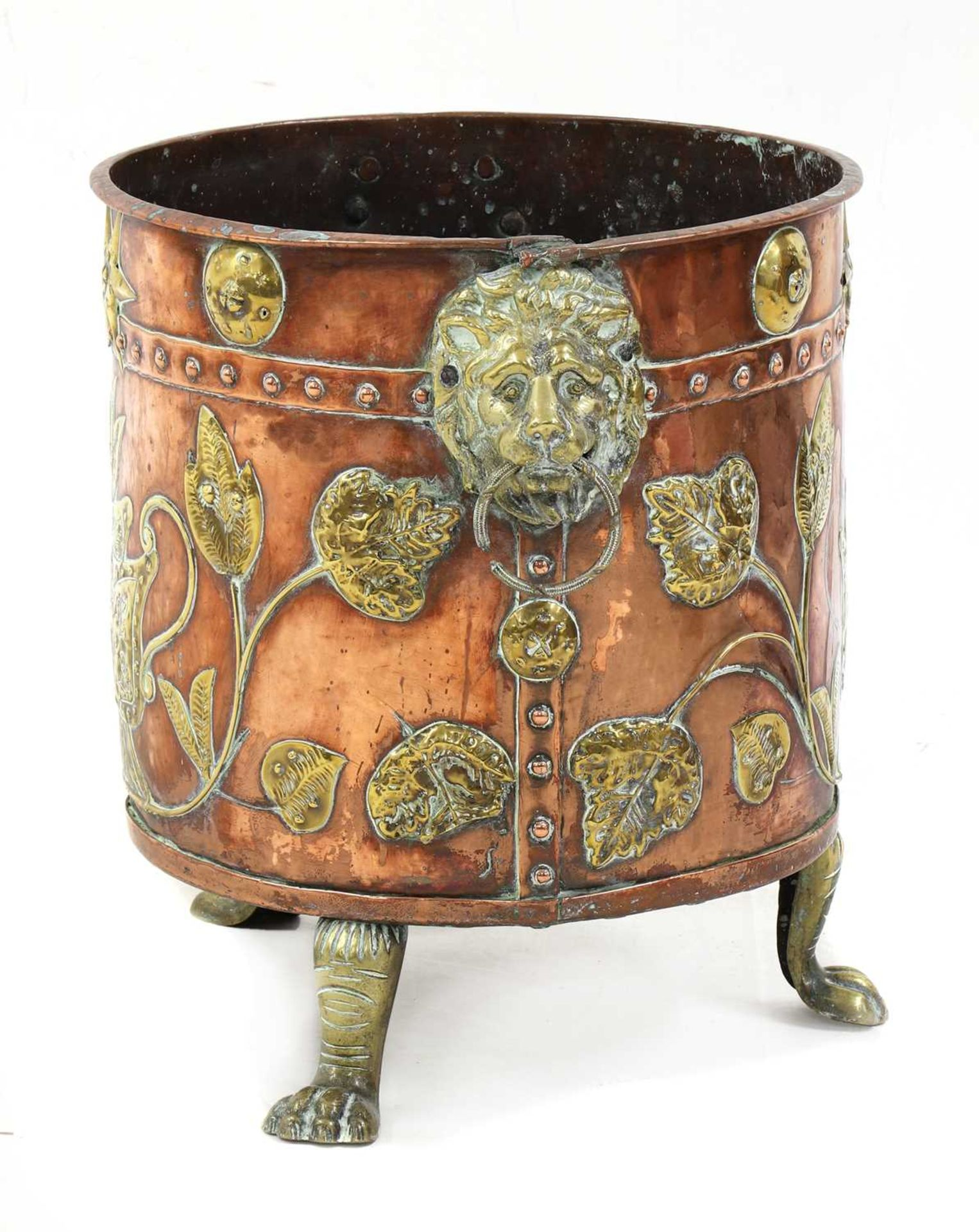 A copper and brass coal bucket, - Image 4 of 5