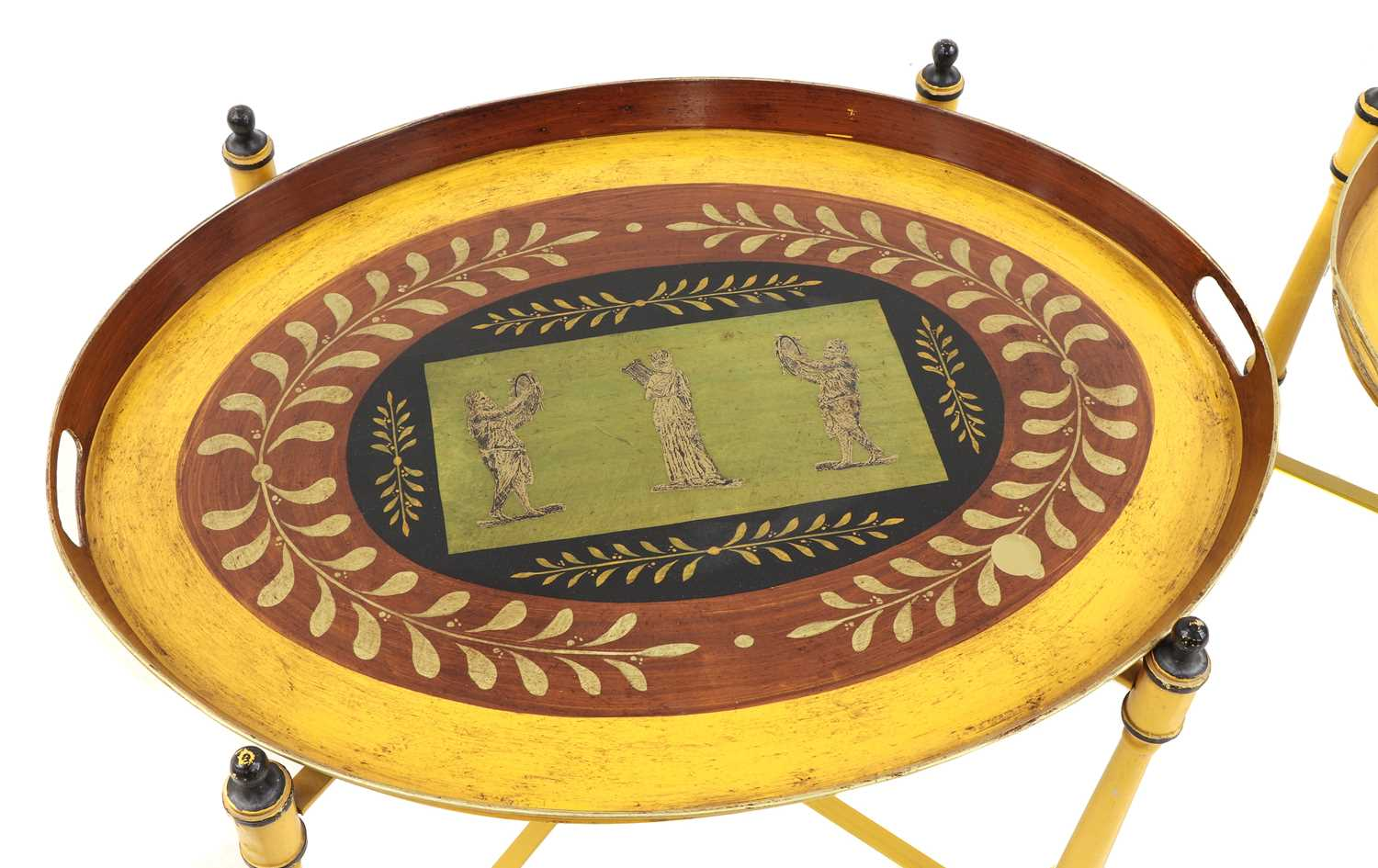 A pair of Regency-style yellow-painted toleware side tables, - Image 3 of 4