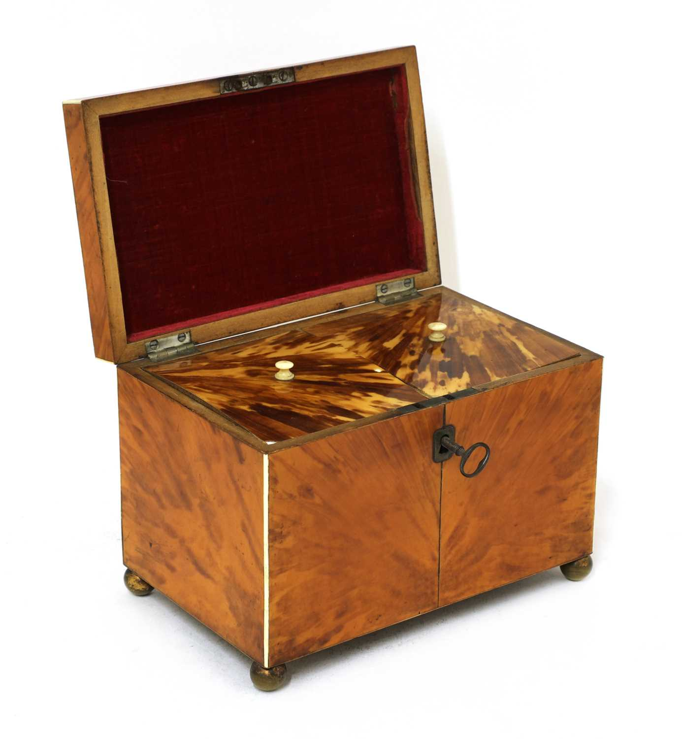 A blond tortoiseshell twin compartment tea caddy, - Image 2 of 4