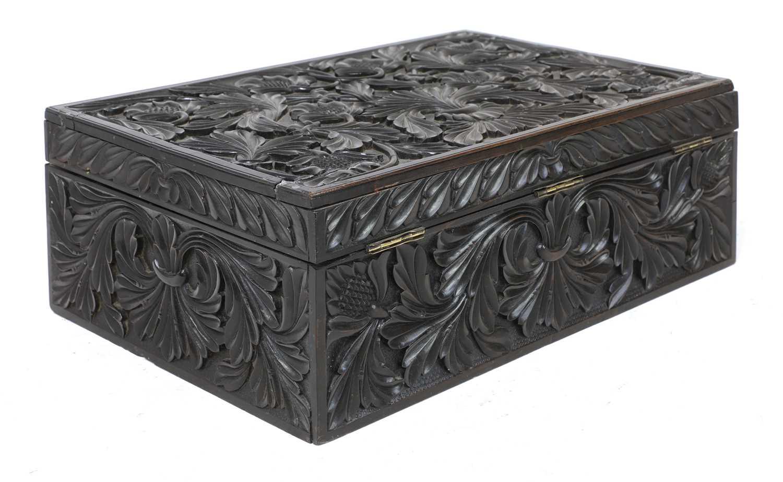 A Ceylonese carved ebony workbox - Image 2 of 6