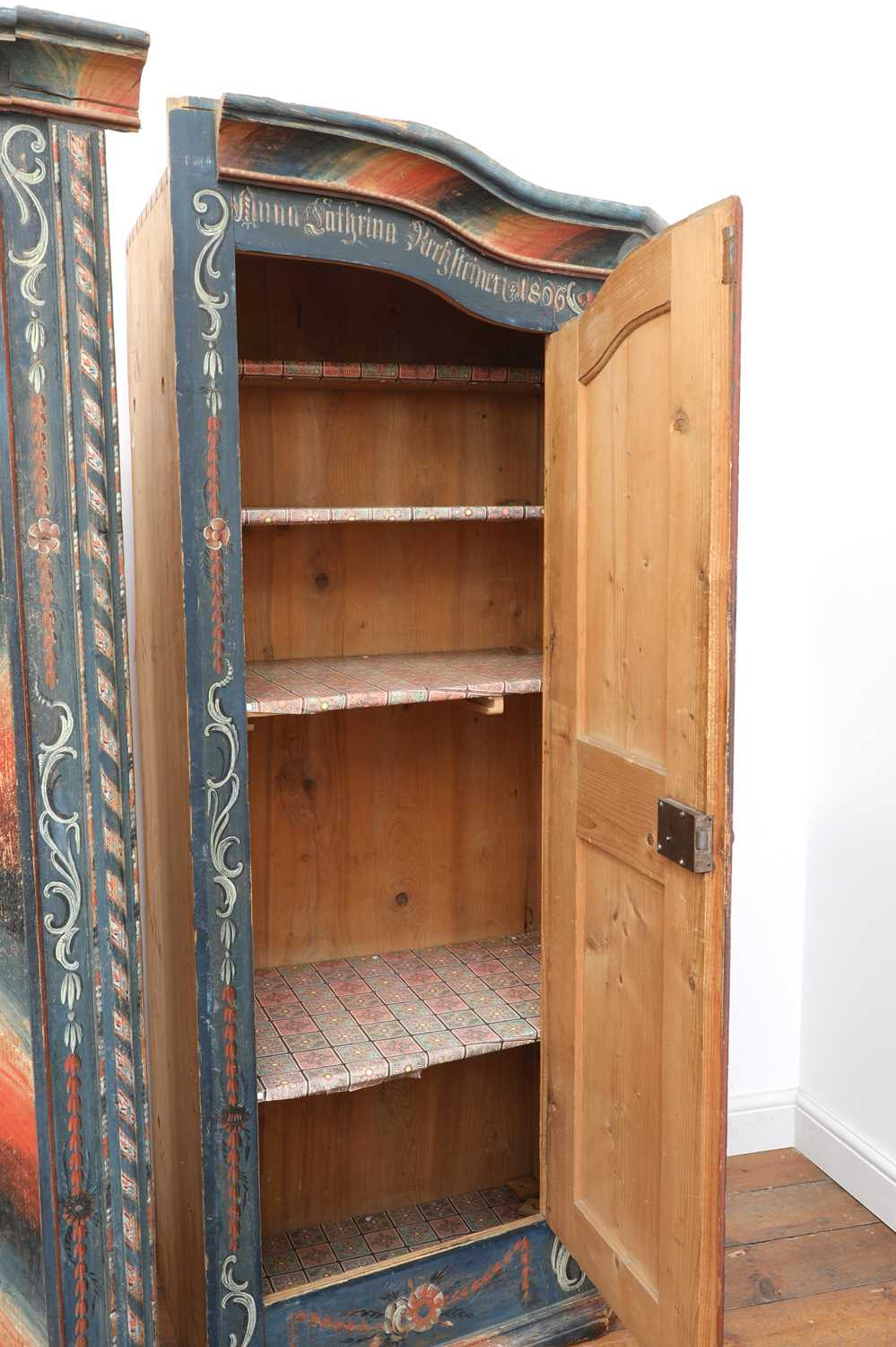 A Northern European painted pine armoire, - Image 9 of 10