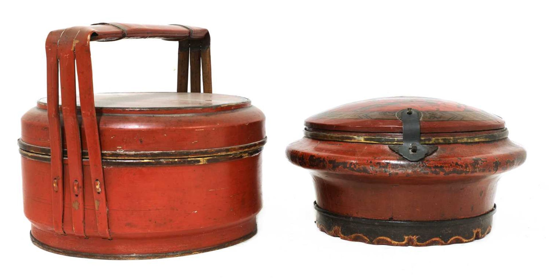 A Chinese red-lacquered food carrier, - Image 3 of 7