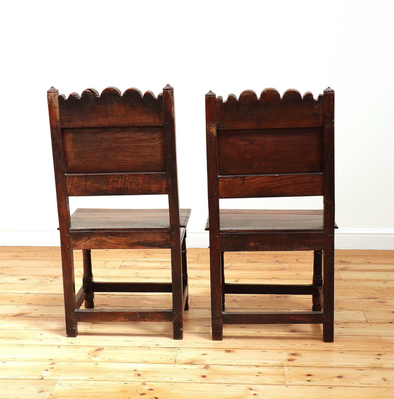 A pair of Charles II oak backstools, - Image 4 of 9