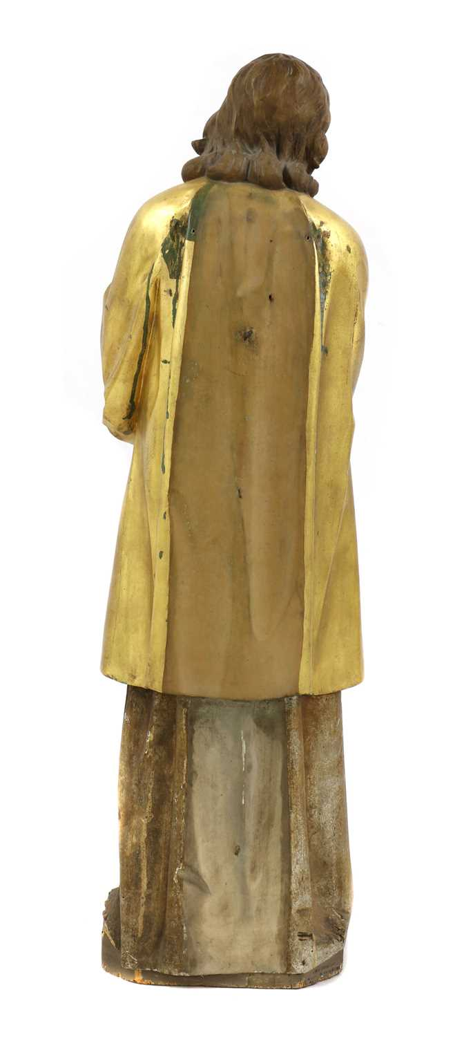 A Continental carved wood figure of a saint, - Image 4 of 4