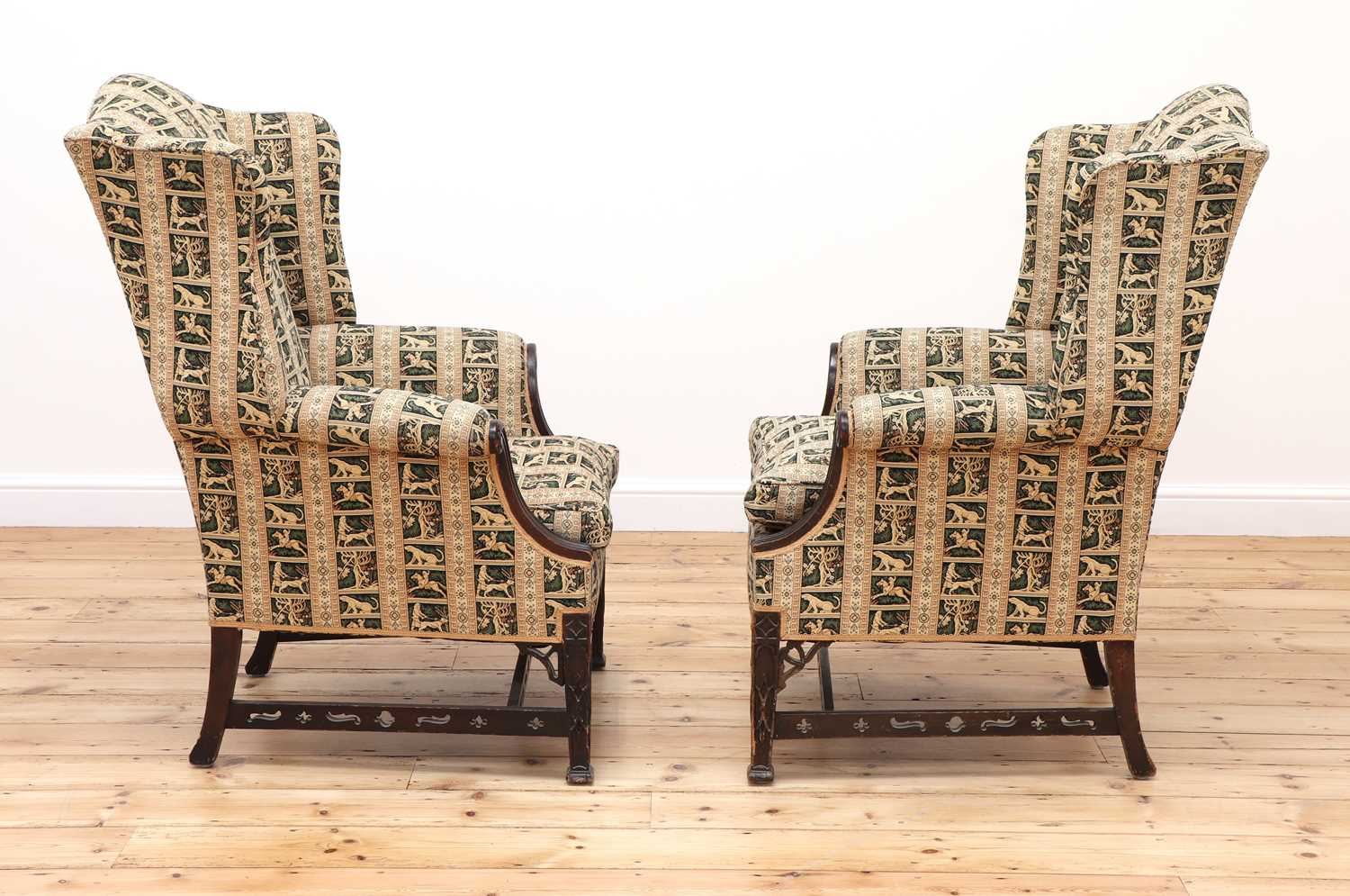 A pair of George III-style mahogany wingback armchairs - Image 3 of 6