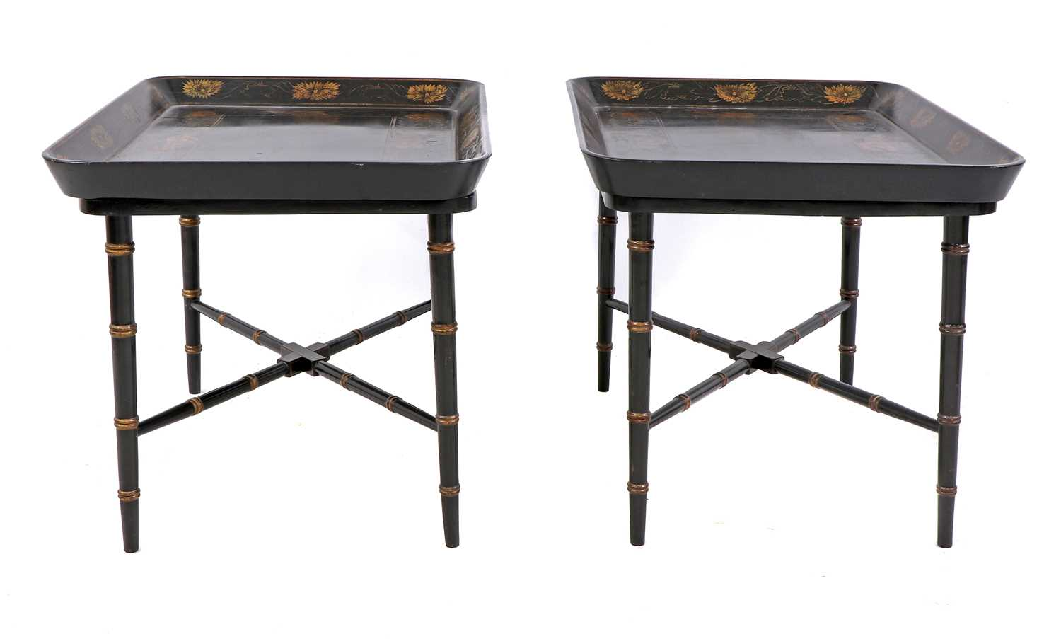 A pair of Regency-style papier mâché tray-top side tables,