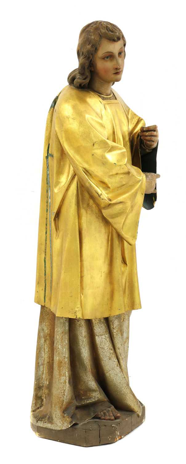 A Continental carved wood figure of a saint, - Image 2 of 4