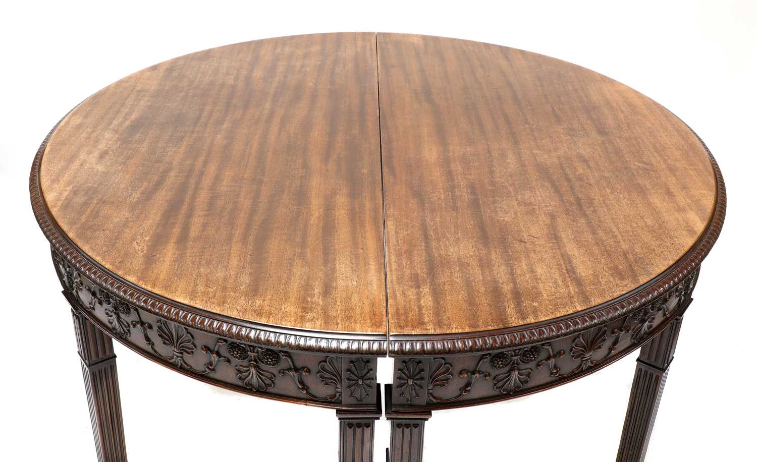 A pair of Adam Revival mahogany demilune console tables, - Image 2 of 4