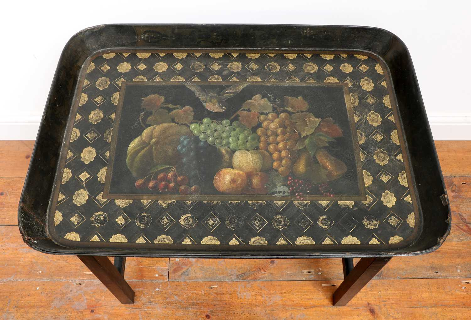 A Regency black lacquer galleried tray on stand, - Image 2 of 5
