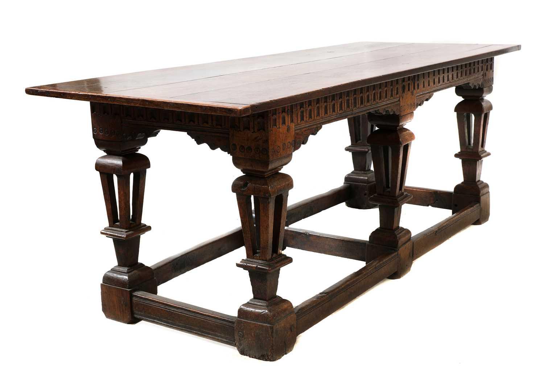 A Jacobean style oak refectory table,