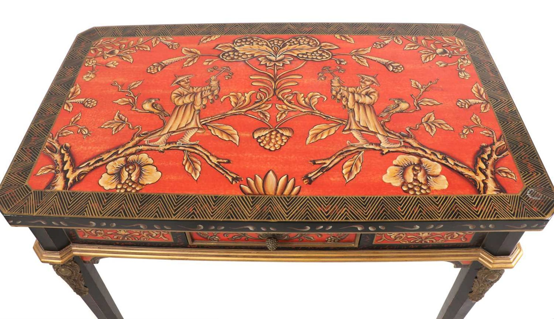 A pair of Napoleon III-style lacquered chinoiserie side tables, - Image 7 of 10