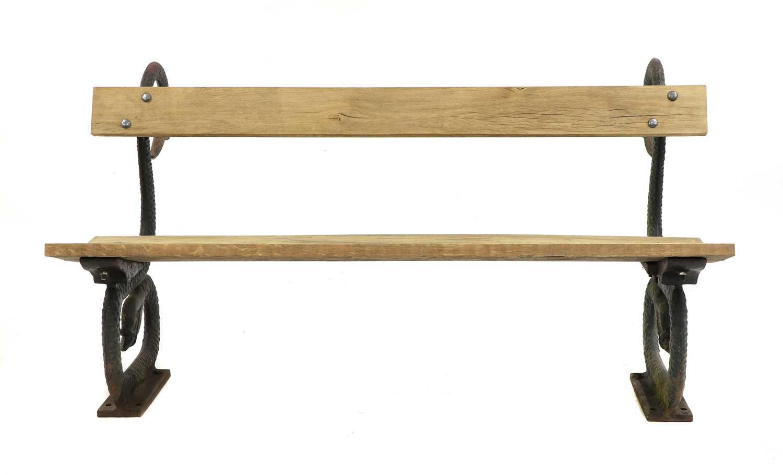 A cast iron garden seat,