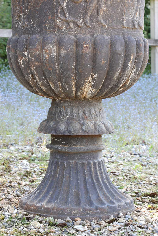 A cast iron campana garden urn, - Image 4 of 6
