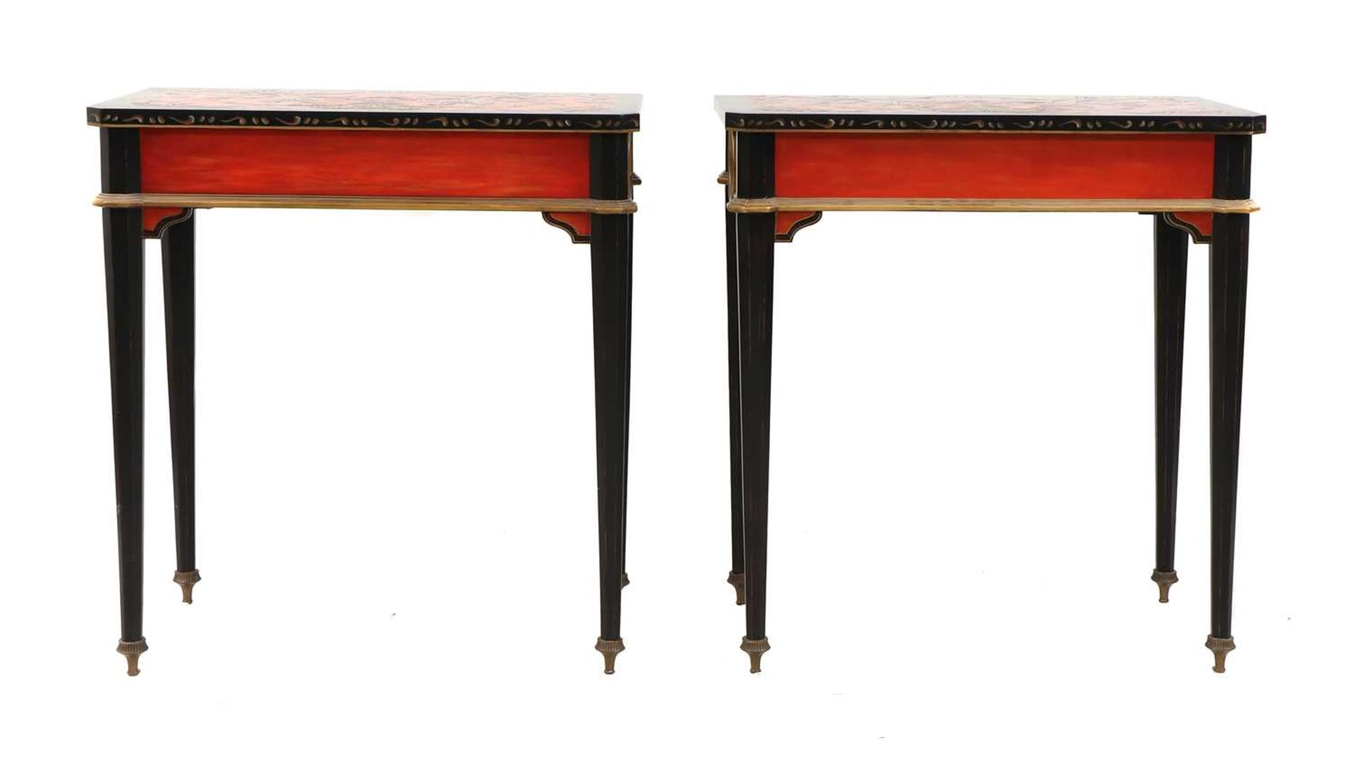 A pair of Napoleon III-style lacquered chinoiserie side tables, - Image 4 of 10