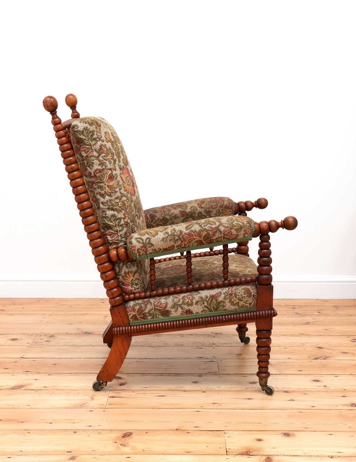 A Victorian fruitwood bobbin-turned library armchair, - Image 2 of 5