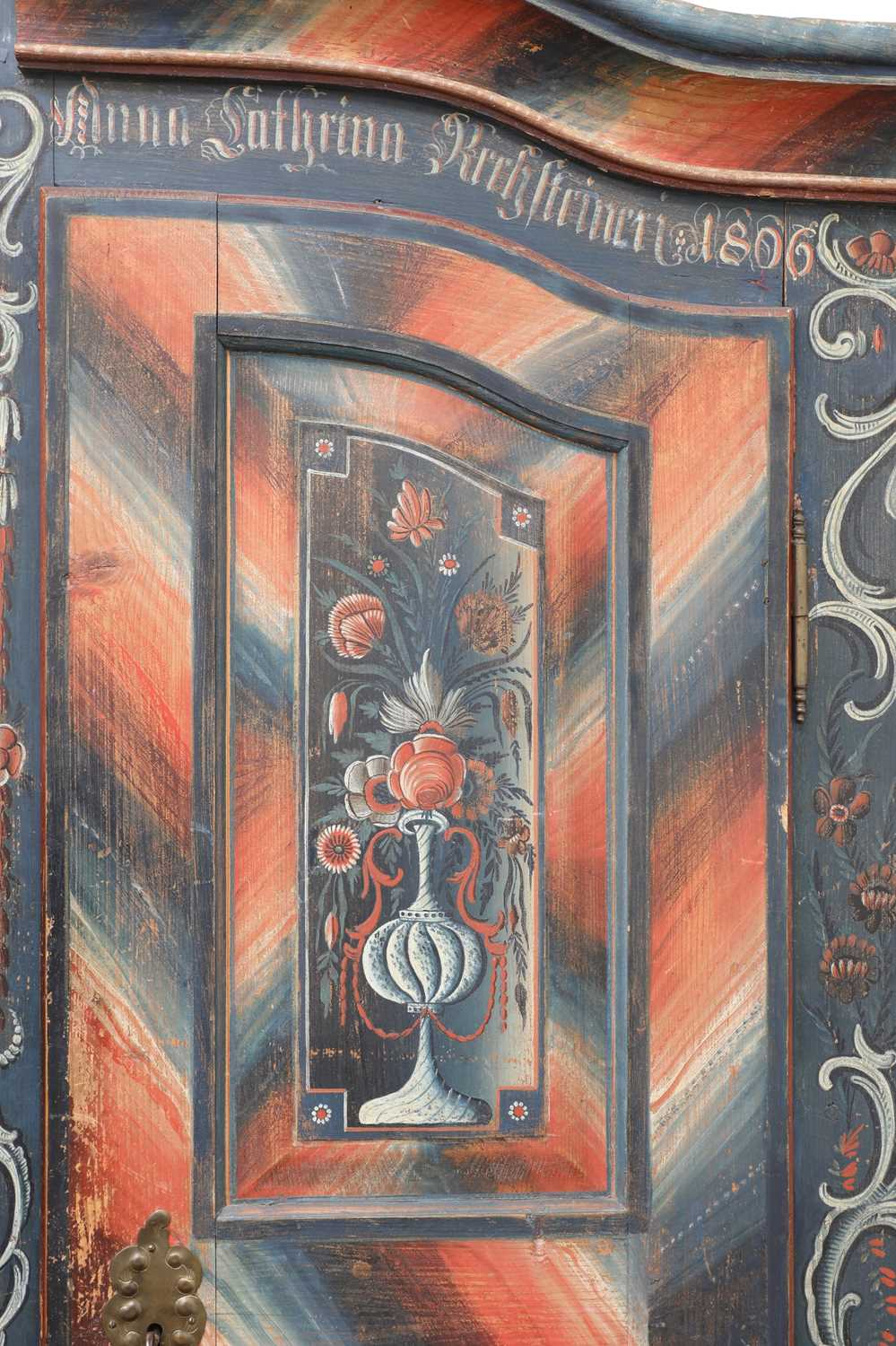 A Northern European painted pine armoire, - Image 6 of 10