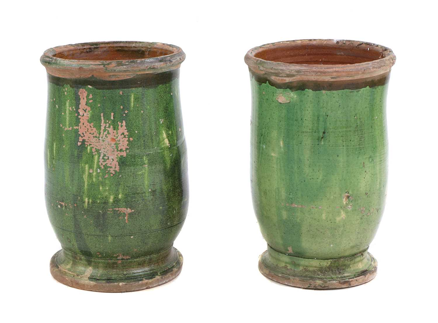 A pair of 'Poterie d'Anduze' green-glazed terracotta garden urns, - Image 2 of 2