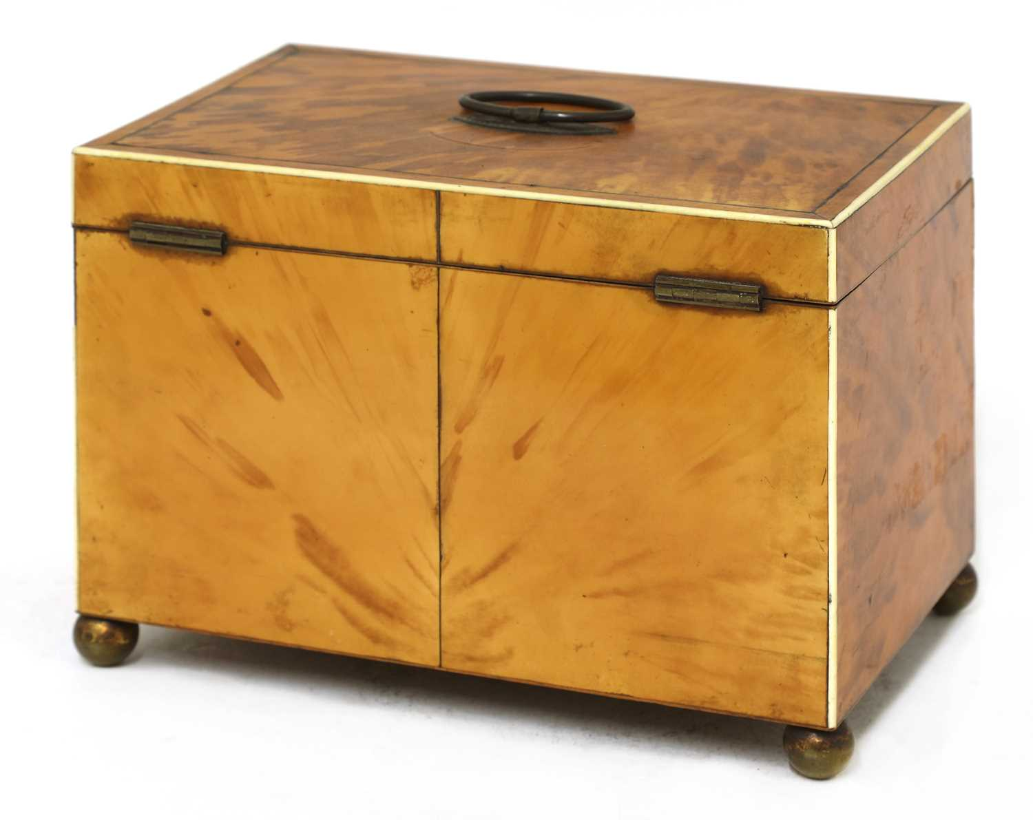 A blond tortoiseshell twin compartment tea caddy, - Image 3 of 4
