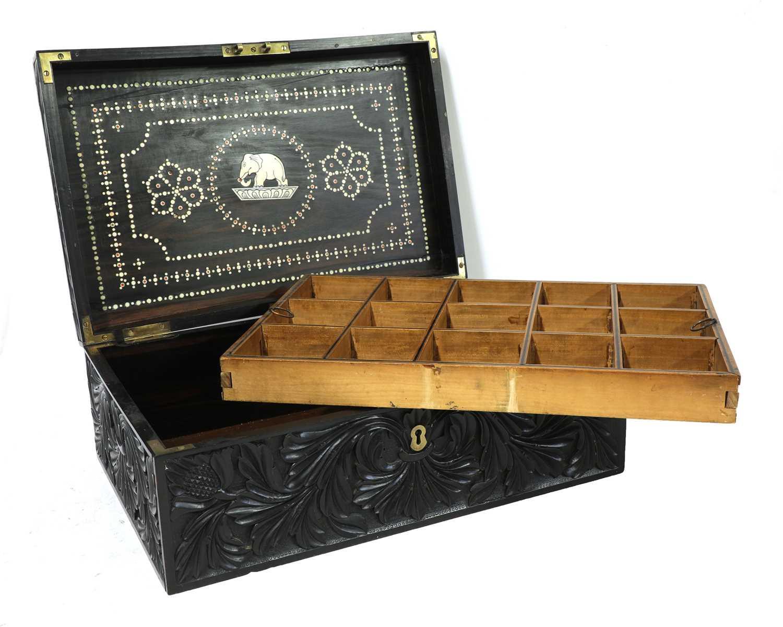 A Ceylonese carved ebony workbox - Image 6 of 6