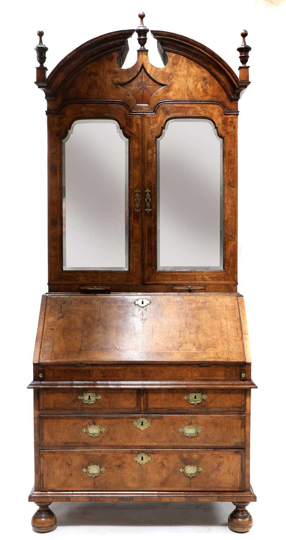 A walnut bureau bookcase,