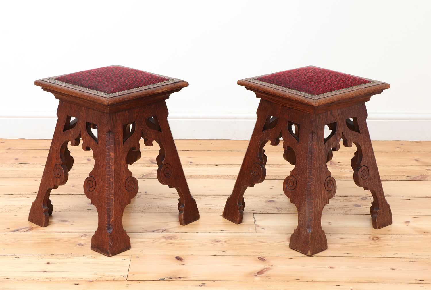 A pair of Liberty-style Arts and Crafts oak stools, - Image 2 of 4