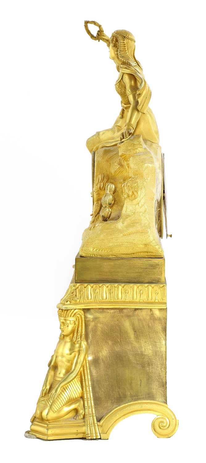 A French Egyptian Revival ormolu mantel clock, - Image 3 of 4