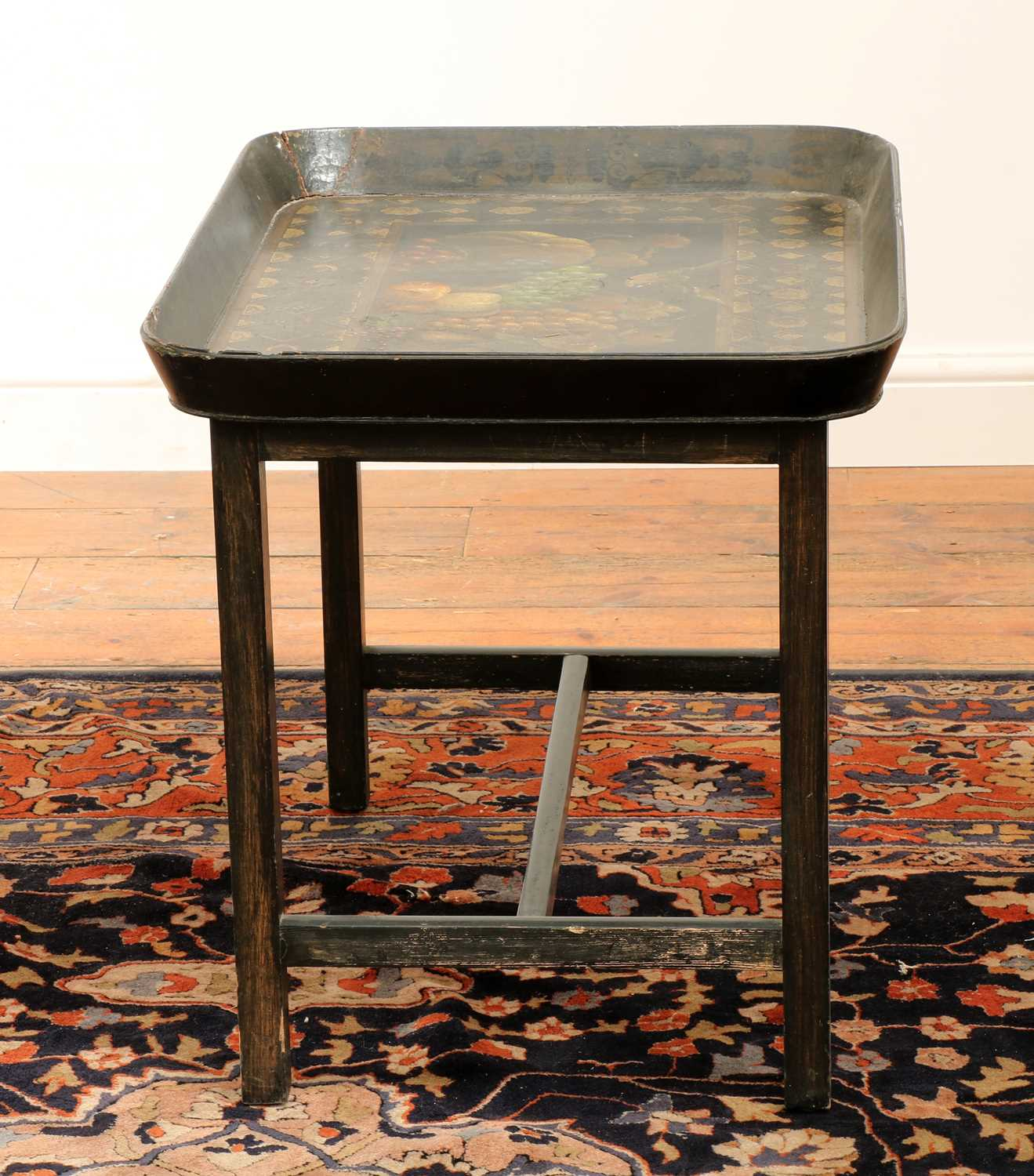 A Regency black lacquer galleried tray on stand, - Image 5 of 5