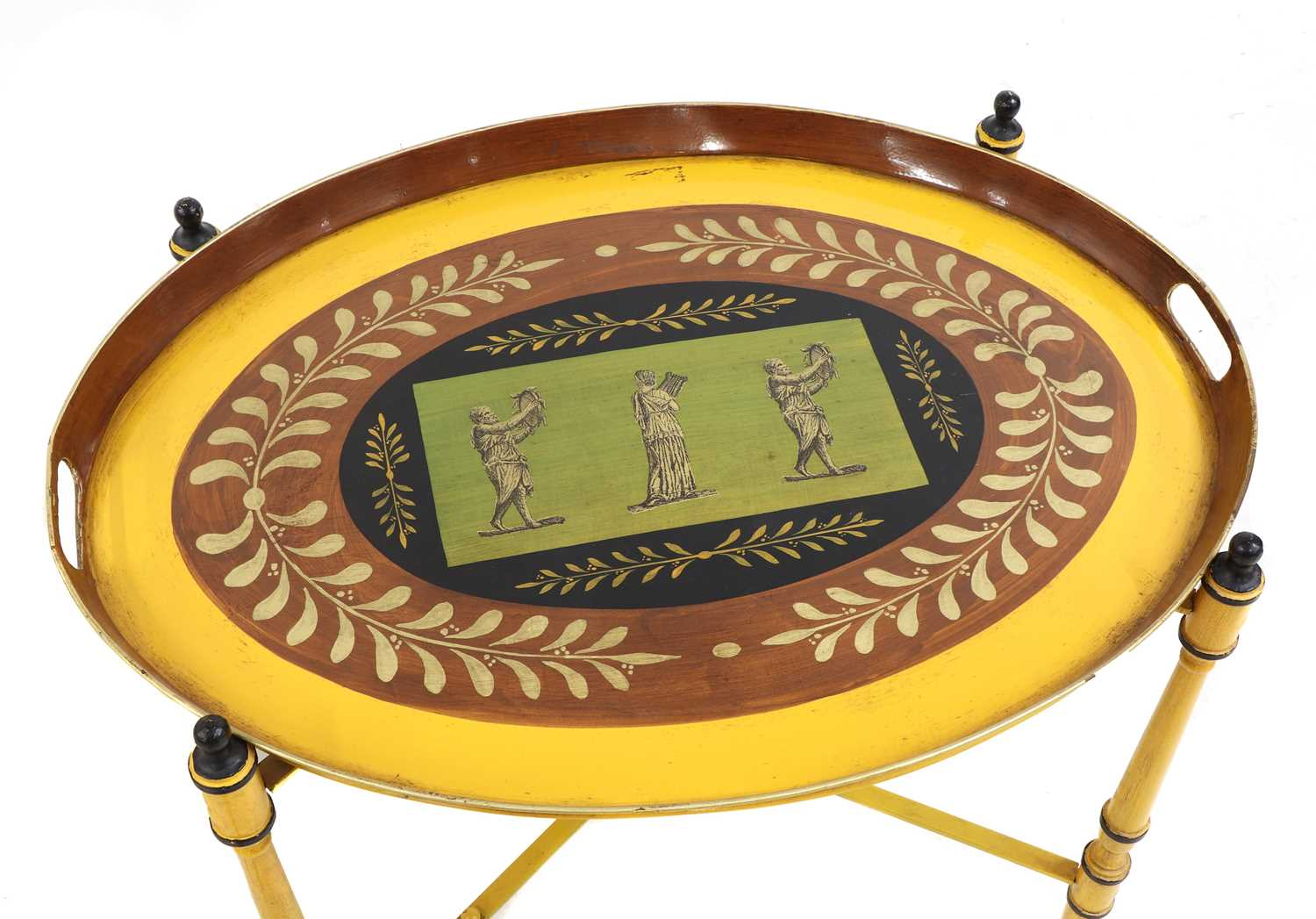 A pair of Regency-style yellow-painted toleware side tables, - Image 2 of 4