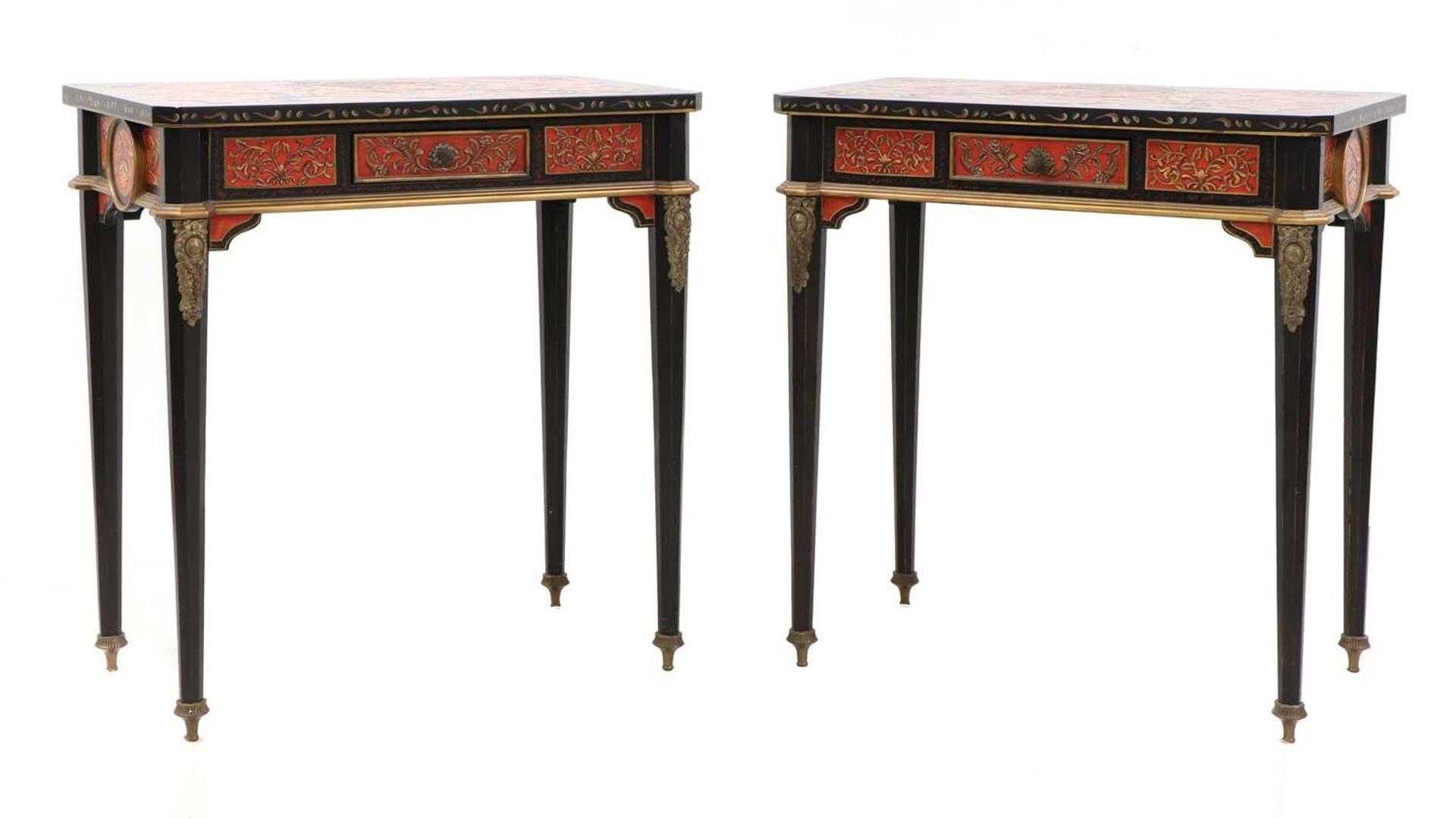 A pair of Napoleon III-style lacquered chinoiserie side tables, - Image 2 of 10